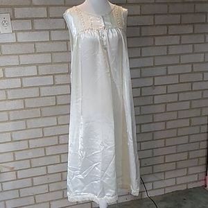 CHRISTIAN DIOR Satin Lace Nightgown Size L - XL